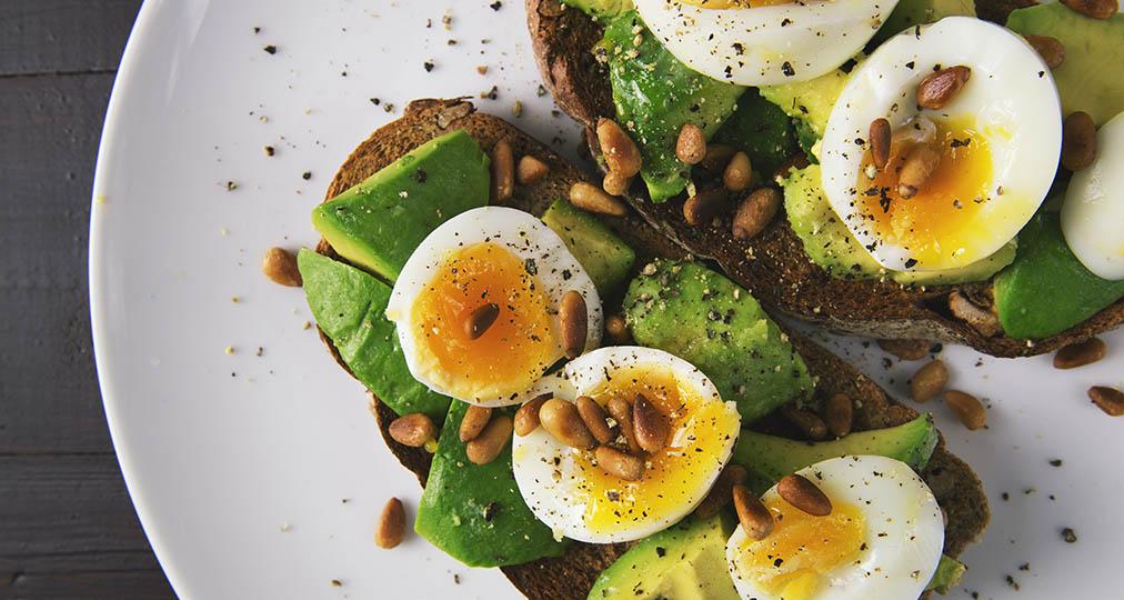 appetizer avocado eggs bread