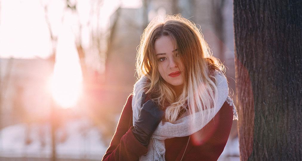 beautiful lady wearing red coat