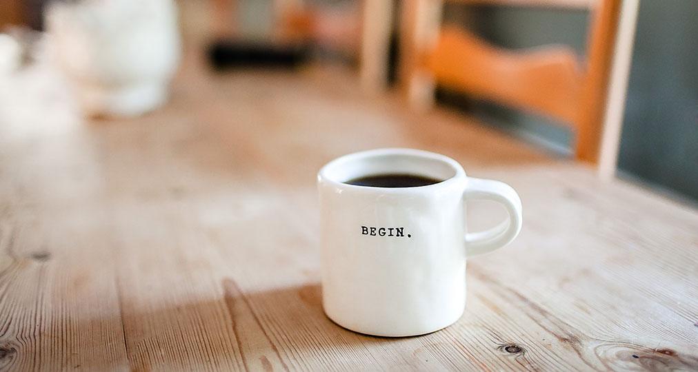 begin white mug