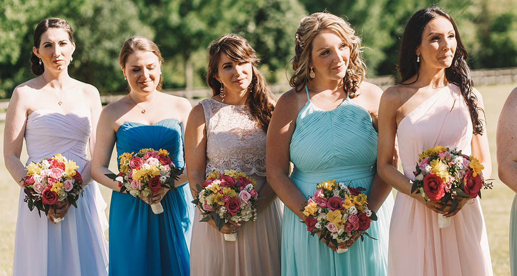 bridesmaids at wedding ceremony