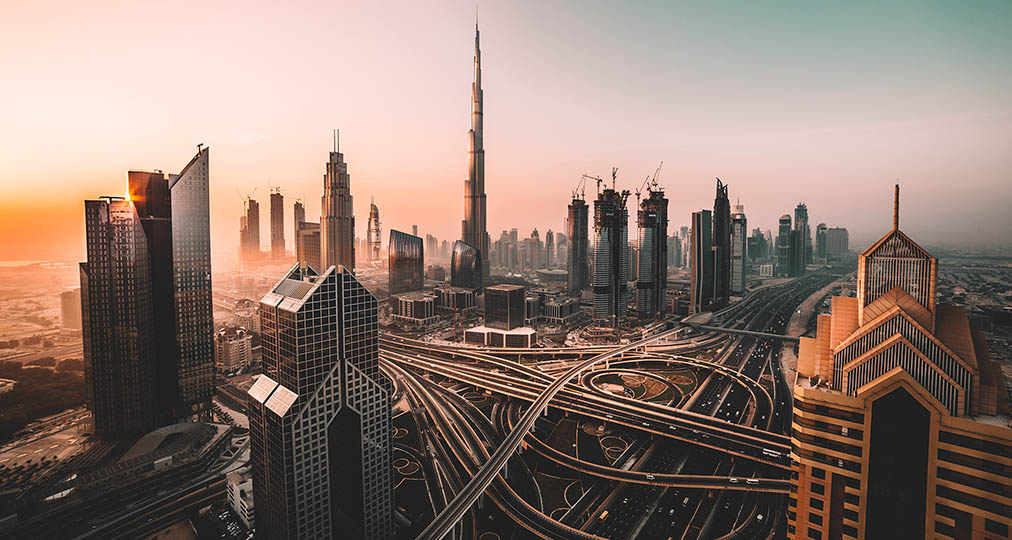 dubai evening city view