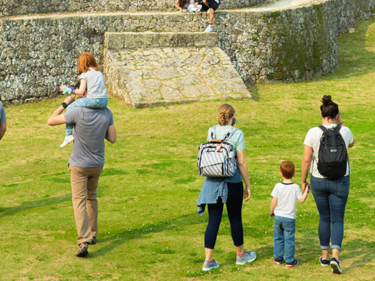 family visiting old castle ruins