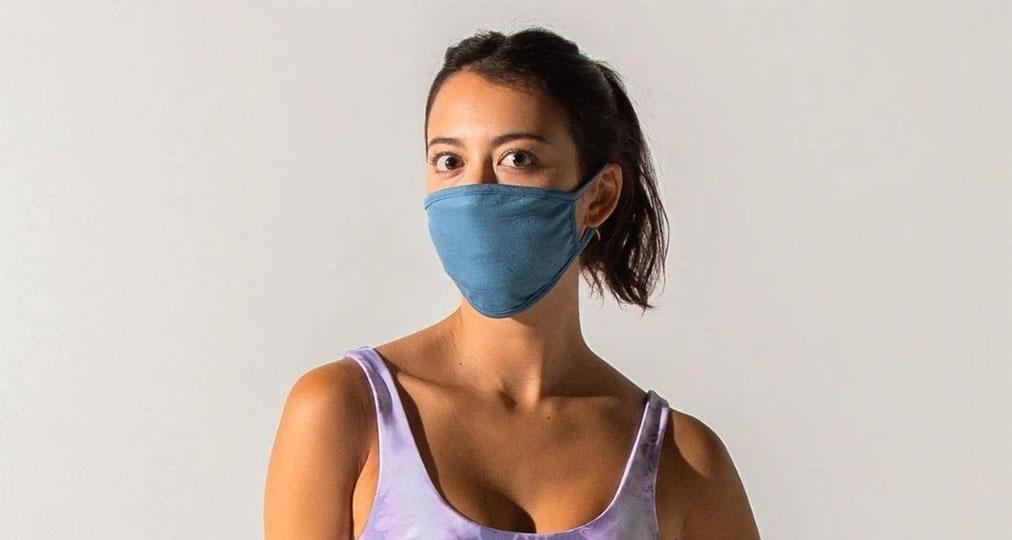 girl wearing blue face mask