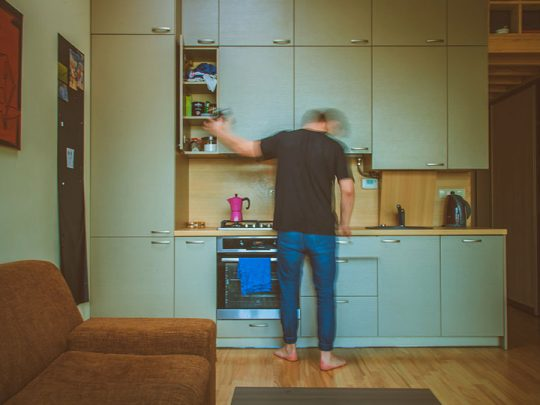 morning man in the kitchen