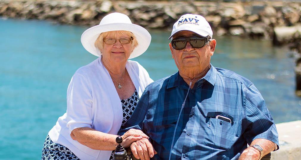 senior couple at seaside
