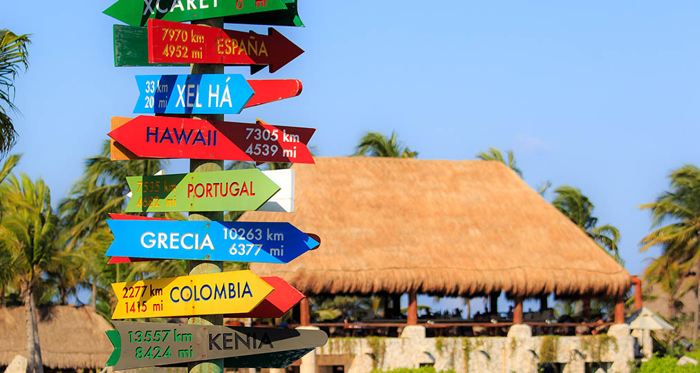 signpost on the beach
