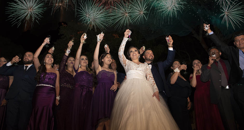 wedding guests and fireworks