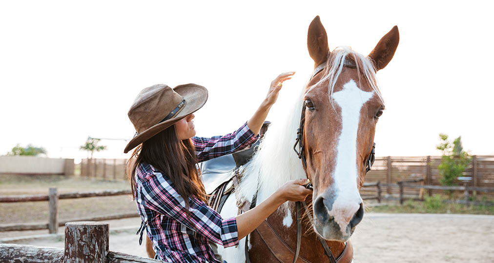 woman and her lovely horse