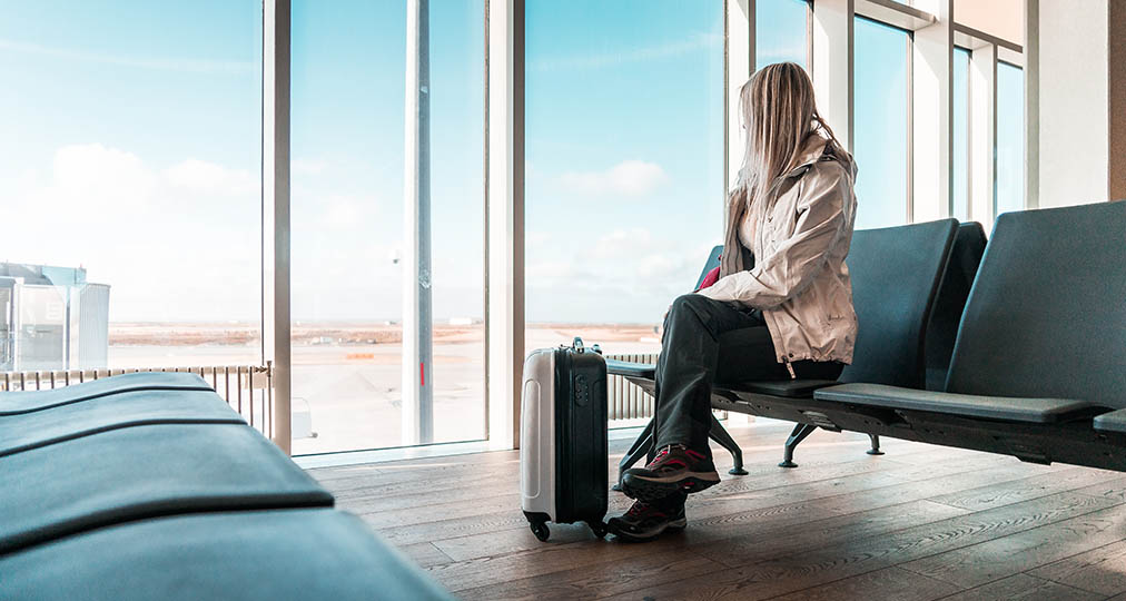 woman waiting flight