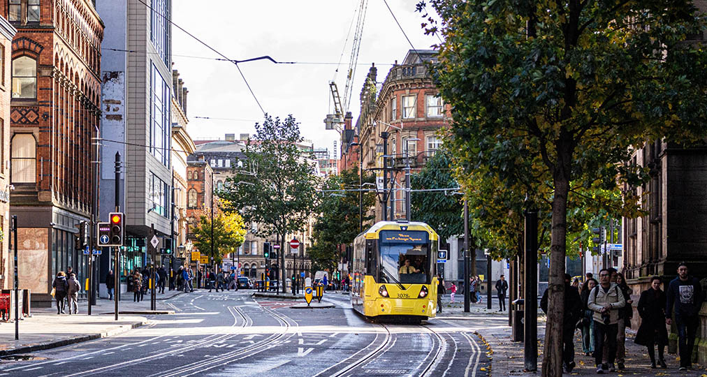 yellow tram in manchester